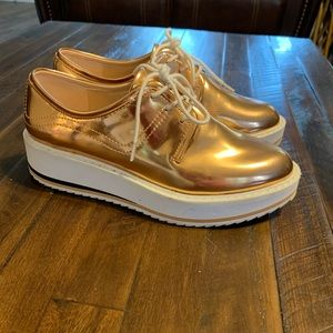 Metallic Flatform Zara shoes